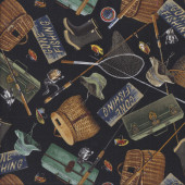 Gone Fishing on Black Fishing Rod Lures Mens Quilting Fabric