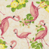 Flamingos on Cream Yellow Hibiscus Flowers Birds Quilting Fabric