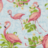 Flamingos on Light Blue Yellow Hibiscus Flowers Birds Quilting Fabric