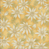 Australian Sun Cream Flannel Flowers on Gold Quilting Fabric
