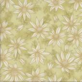 Australian Sun Cream Flannel Flowers on Green Quilting Fabric