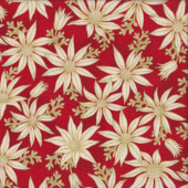 Australian Sun Cream Flannel Flowers on Red Quilting Fabric