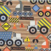 Under Construction Cement Truck Digger Tractor Boys Flannel Fabric