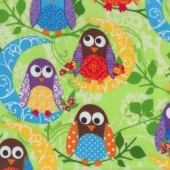 What a Hoot Owls on Tree Branches Green Flannel Fabric