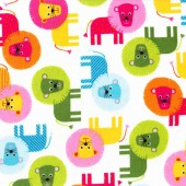 Primary Lions Urban Zoologie Anne Kelle Kids Boys Flannel Fabric