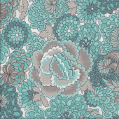 Aqua Grey Flowers on White Quilting Fabric