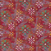 Australian Indigenous Aboriginal Flowers in the Desert Red by L. Doolan Quilting Fabric