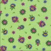 Bright Green Imperial Paisley Floral Quilting Fabric