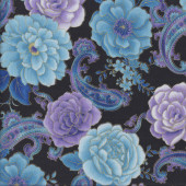 Blue Mauve Roses Paisley with Metallic Gold on Black Quilting Fabric