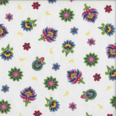 White Imperial Paisley Floral Quilting Fabric