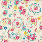 Cute Pretty Pink Roses Yellow Sunflowers on Girls Cream Fabric