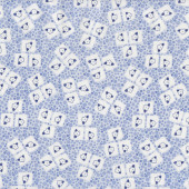 Flowers in Squares on Blue Tea For Two Quilt Fabric