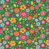 Flowers on Green Quilting Fabric