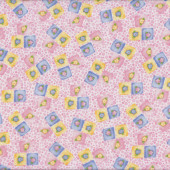Flowers in Squares on Pink Tea For Two Quilt Fabric