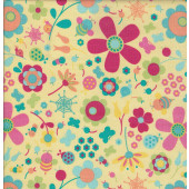 Flowers on Yellow Quilting Fabric