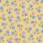 Flowers in Squares on Yellow Tea For Two Quilt Fabric