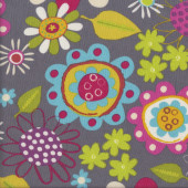 Colourful Flowers on Grey Amy Schimler Quilting Fabric
