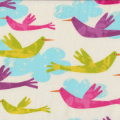 Fly Away Colourful Funky Birds in Sky Quilt Fabric