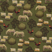 Horses Sheep Roosters Folk Art Farm Trees Quilting Fabric
