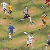 Football Fever Players on Green Sport Quilting Fabric