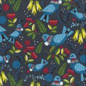 New Zealand Tui Kowhai Pohutakawa Flowers Forest Song Birds Quilting Fabric
