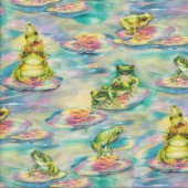 Frogs on Rainbow Water Lilly Pads Quilting Fabric