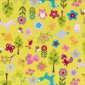 Fox Birds Owls Trees Flowers on Yellow Fabric
