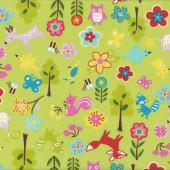 Fox Birds Owls Trees Flowers on Green Fabric
