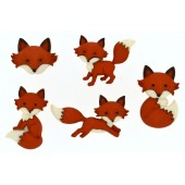 Brown and White Foxes Out Foxed Shank Craft Buttons
