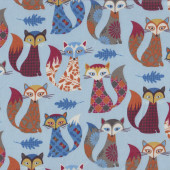 Funky Foxes on Blue LAMINATED Water Resistant Slicker Fabric