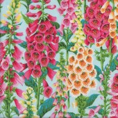 Beautiful Foxgloves Flowers on Light Blue Flowers Quilting Fabric