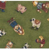 Fresh off The Farm on Green Cows Pigs Roosters Quilting Fabric