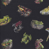 Frogs on Black Wildlife Quilting Fabric