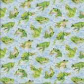 Green Frogs on Blue Quilting Fabric