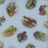 Frogs on Blue Wildlife Quilting Fabric