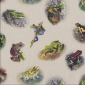 Frogs on Cream Wildlife Quilting Fabric