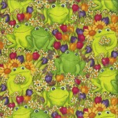 Happy Green Frogs Daisies Tulips quilting Fabric