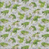 Green Frogs on Grey Lily Pads Wildlife Quilting Fabric