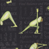 Frogs Doing Yoga on Black Exercise Stretch Breathe Quilting Fabric