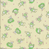 Frogs Crowns Quilting Fabric