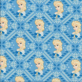 Frozen Elsa on Blue Diamonds Snowflakes Licensed Quilting Fabric