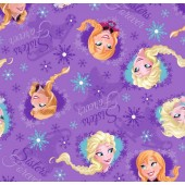 Disney Frozen Purple Quilting Fabric Remnant 45cm x 112cm
