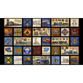 Trains Locomotives on Black Full Steam Ahead Quilting Fabric Panel