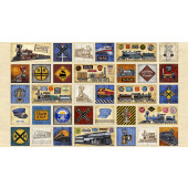 Trains Locomotives on Beige Full Steam Ahead Quilting Fabric Panel