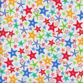 Colourful Starfish on White Fun at the Beach Ocean Quilting Fabric