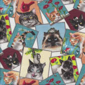 Curious Cats in Squares Birds Flowers on Cream Quilting Fabric