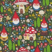 Gnome Garden Flowers Mushrooms Gnomes on Green Quilting Fabric