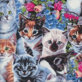 Garden Kittens Ragdoll Tabby Flower Cats Quilting Fabric
