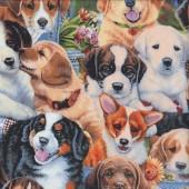 Garden Puppies Labrador Beagle Corgi Dogs Quilting Fabric