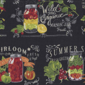 Mason Jars on Black Fruit Vegetables Kitchen Quilting Fabric